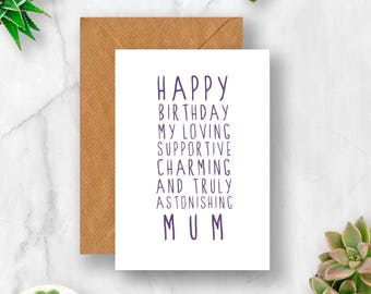 Sweet Description Happy Birthday Mum Card, Mum Card, Mum Birthday Card, Card for Mum, Card for Mum Birthday, Amazing Mum, Mummy Card