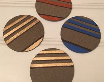 Hand painted coasters color stripes set of 4