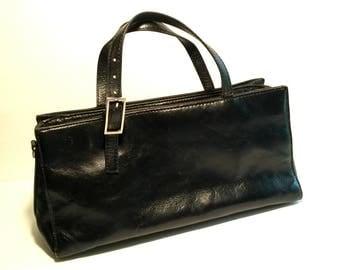 Wilsons Leather Handbag, Vintage Distressed Pelle Studio Black Leather Purse, 3 Divided Sections, Brushed Nickel Hardware, Buckle, 1990s