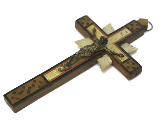 Antique Wood and Mother of Pearl Crucifix with Stations of The Cross.