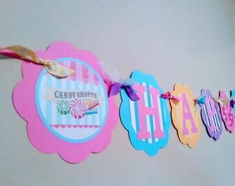 Candy Shop Happy Birthday Banner