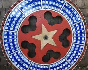 Vintage Carnival Gaming Wheel Folk Art Roulette Wheel H C Evans Star And Dice