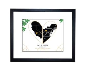 Long distance relationship couple heart map, Wedding Map For Couple, Wedding Invitation Art, Keepsake Map, Anniversary, wedding best friend