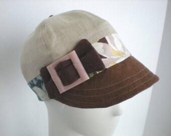 Linen and vintage fabric Newsboy cap