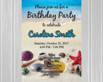 Adult Birthday Party Invitation   Beach Seashells Photo Background   Custom Invitation   *DIGITAL FILE*