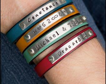 Personalized Leather Bracelet, Women's Custom Bracelet, Name Bracelet, Customized Gift for Girlfriend, Gift for Her, Best Friend Gift