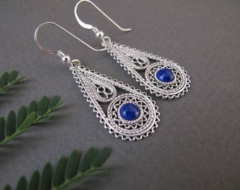Lapis Lazuli Silver earrings-Silver filigree earrings-Lapis earrings-Israel jewelry-Ethnic earrings-blue stone earrings-yemenite earrings
