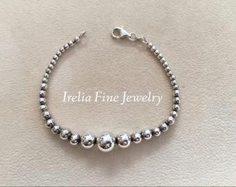 "Vintage Italian Sterling Silver Graduated Bead Bracelet Bracelet 7.25"" Long   --Ready to Ship"