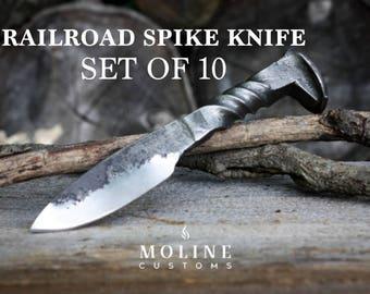 Full Twist Railroad Spike Knife, Set of 10
