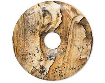 Pendant - 30mm Donut MyLittleBird PICTURE Jasper