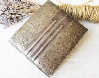 Antique German Cigarette Case Alpacca Hoka Art Deco Silverplated Engraved Flowers Case Old Metal Box Cigarette Holder Smoker Accessories