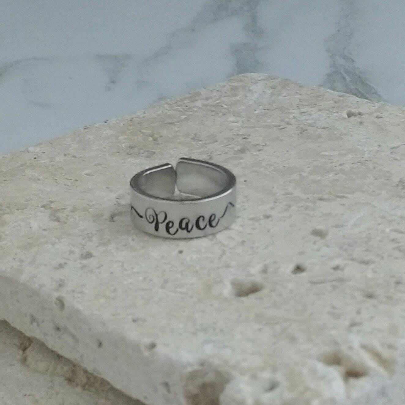 Peace ring - handstamped cuff ring. Made to order and comes in small medium and large.