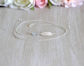 Feather anklet jewelry gray Silver 925 2 towers
