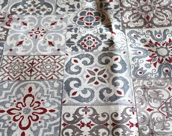 Coated fabric 50 x 70 cm cement tiles