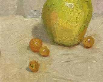 Golden Delicious Original Oil Painting by Bhavani Krishnan Green apple Cherry tomatoes Fruit still life Small daily painting Kitchen art 6x8