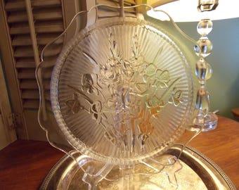 Platter, IRIS & HERRINGBONE Pattern Clear Glass Cake Plate, Jeannette Glass Co.