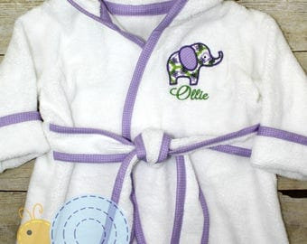 Monogrammed Hooded Baby Bath Robe with Applique- Boys or Girls - Personalized Baby Shower Gifts and Keepsake with Embroidered Initials