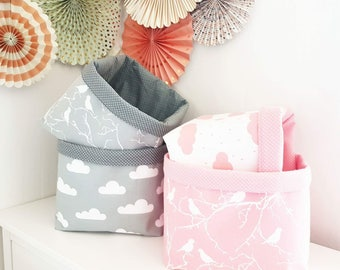 Birds on grey fabric storage basket. Organizer, container, basket bin. Nappy basket, toy storage, nursery decor, kids room. Baby shower gift