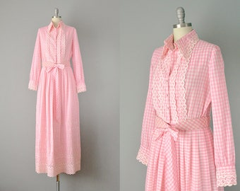 60s Dress // 1960's Pink Cotton Gingham and Lace Maxi Dress // Large