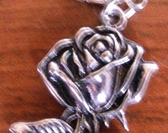 charms Silver Flower snap charm: rose