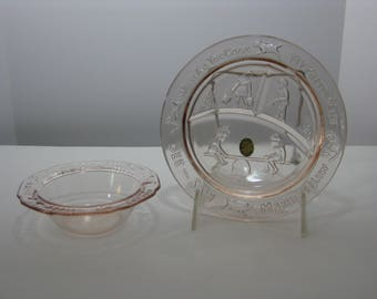Vintage Tiara Nursery rhyme pink glass bowl and divided luncheon plate 1995