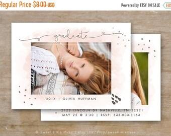 ON SALE Senior Graduation Template - Watercolor Senior Card Templates - Photoshop Template for Photographers - 5x7 card template