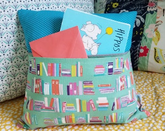 Secret Pocket Tiny Tooth Fairy Book Pillow, Small 12x12 Pillow, Gift for Kids, Book Lover, Books, Alexander Henry, Blue and Green, Baby Gift