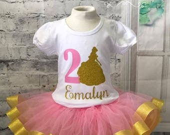Belle birthday outfit, belle birthday tutu, belle tutu outfit, belle shirt, belle tutu, pink and gold tutu, beauty and the beast tutu