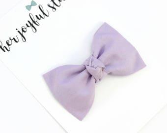 Bow Nylon Headband, Shabby Chic Headband, Infant, Baby Girl Headband, Hair Bows, Toddler Bow, Purple Hair Bow, Lavender Headband, THISTLE