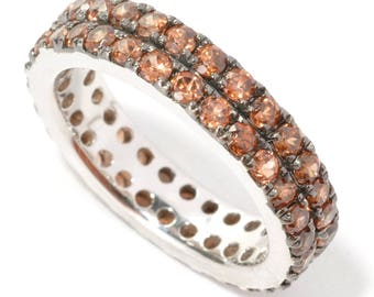 Sterling Silver 2.89ctw Brown Zircon Band Ring SZ 6,7