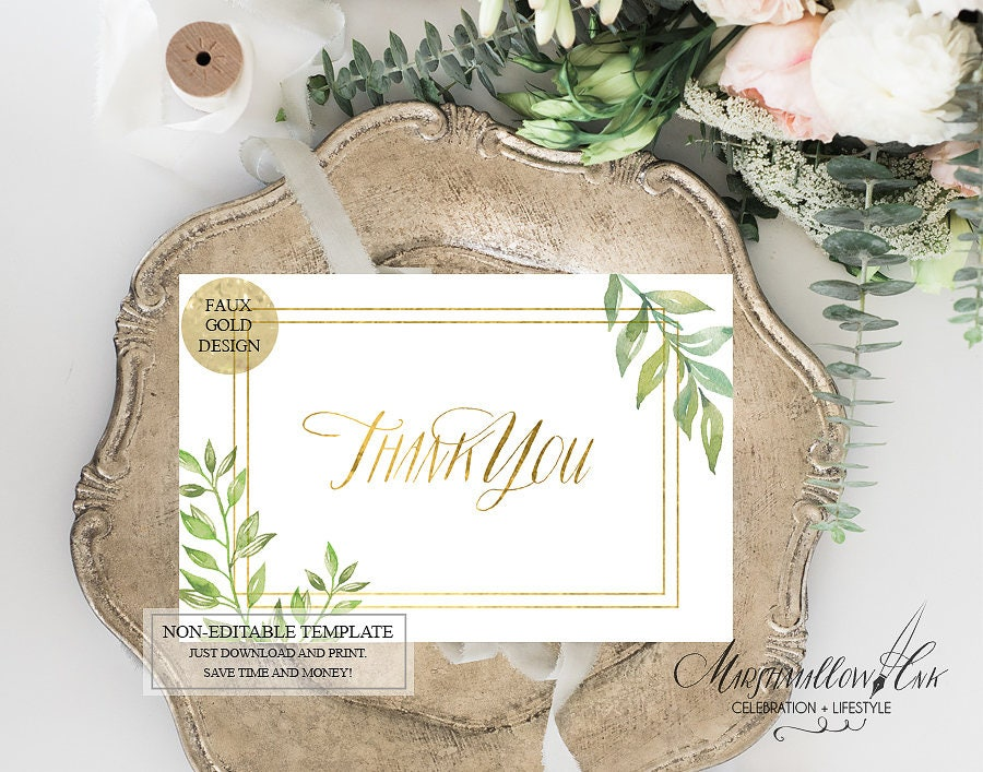 Gold Thank You Wedding Thank You Cards,  Wedding Favor Thank you Printable Wedding Cards, Diy Bridal Thank you Notes, Thank You Template