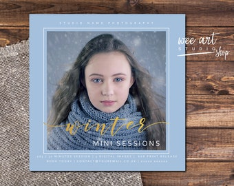 Photography Winter Mini Session Template for Photographers 5x5, Gold