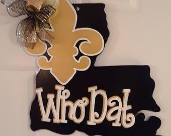 Louisiana Door Hanger Saints Who Dat