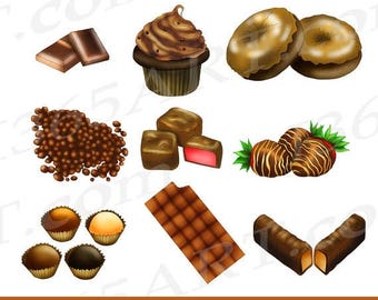 50% OFF Chocolate Clipart Clip art, Chocolate Candy, Sweets, Food, Bars, Choco, Digital, Scrapbooking, Invitation, PNG, Commercial
