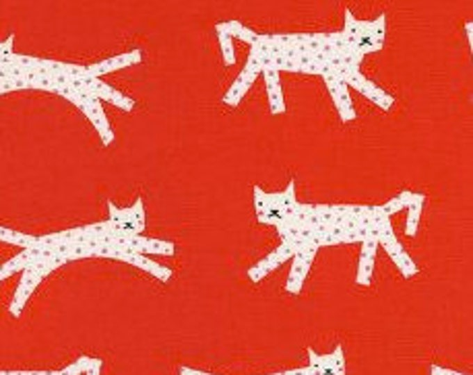 Snow Leopard in Red- Noel by Cotton and Steel- Holiday Fabric