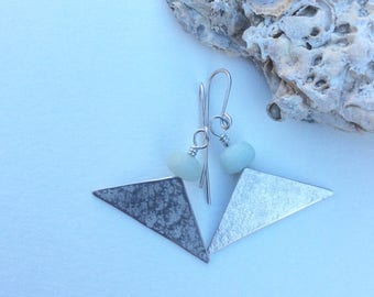 Pale Amazonite and Silver Wide Triangle Earrings