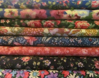 QUILTING COTTON FABRIC Country Floral Bundle of 8 Fat Quarters  #3