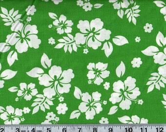 Tropical Hibiscus Floral Hawaiian Green Cotton Quilting Sewing Fabric, BTY #252-9