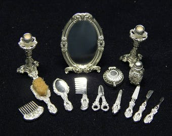 Artisan miniature vanit set with mirror fullset 1/12 1 inch scale silver 925