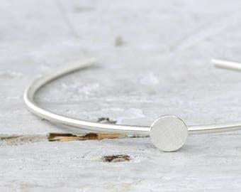 Modern bracelet point 925 Silver cuff down open, plain silver jewellery, dot,