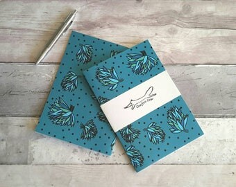 Flower A5 notebook, lined, blooms, blossom, botanical,  gardening, notepad, blue, gift, stationery accessory, exercise book