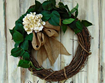 READY TO SHIP! 18 Inch Grapevine Wreath | Hydrangea | Greens | Burlap Bow