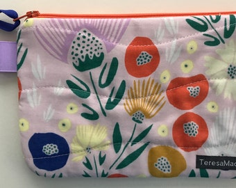 X-Small Flowery Pink Zip Pouch