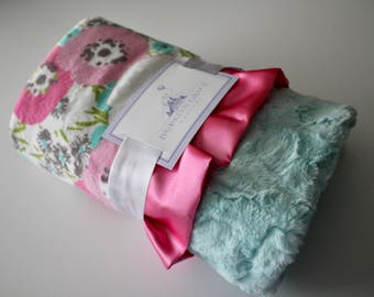 Blossom Cuddle® Hot Pink Floral Minky Blanket, Crib Bedding, Nursery, Baby Shower, Pink, Aqua, Green, Gray with Seaglass Minky Back