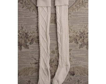 Beige Cable knit Boot Socks