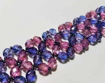 Pink and Purple Crossing Paths Bracelet
