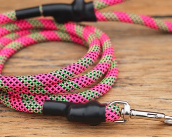 Climbing Rope Dog Leash // Neon Pink Neon Green Dog Leash // Upcycled Dog Leash // 6' Leash