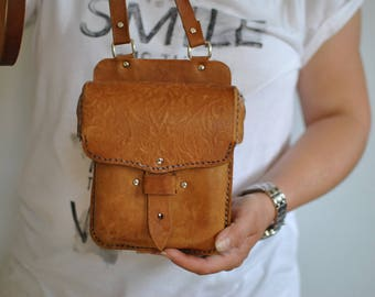 Vintage HANDMADE LEATHER BAG , messenger leather bag.....(294)