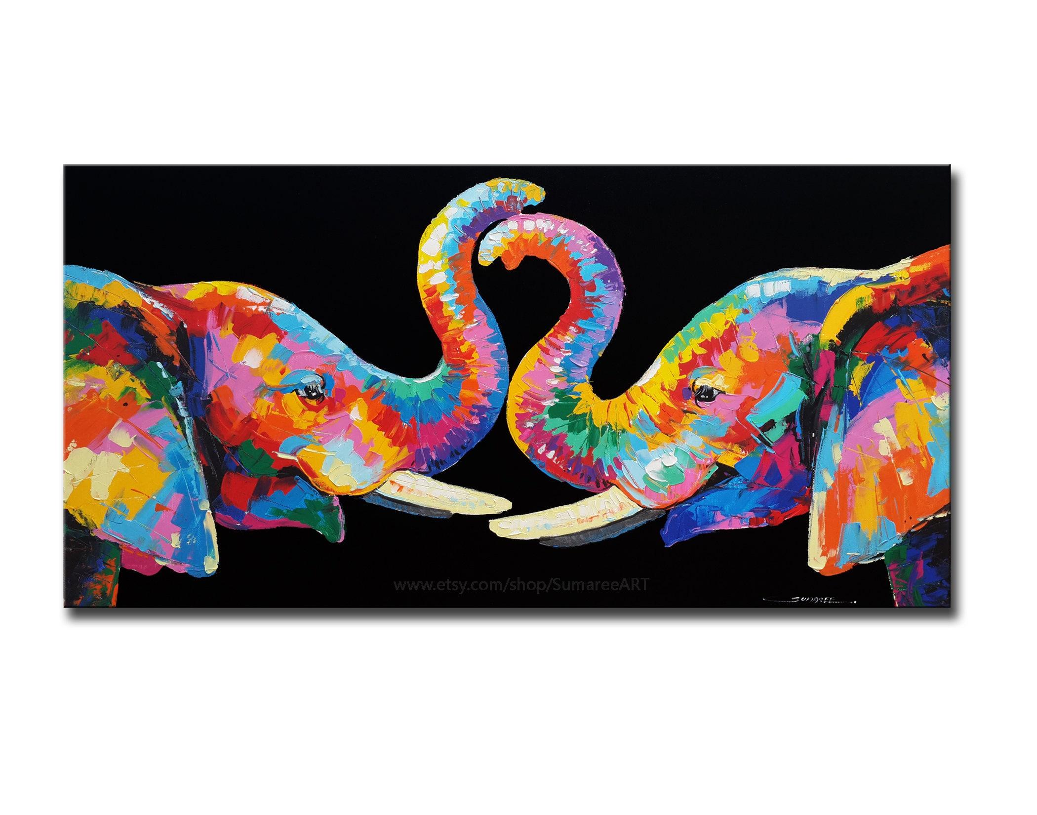 Rainbow elephant wall decor paintings 40x80cm