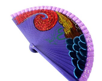 Hand Fans, hand fan, Abanico, fan in purple, handpainted